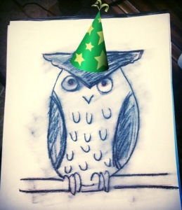 Birthday partying owl